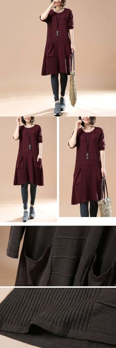 Women's Autumn Long Sleeve Round Neck Loose Sweater Red Wine Dress