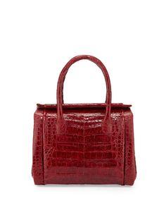 Crocodile Small Satchel Bag, Red