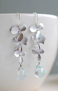 Matte Silver Cascade Orchids Aqua Blue Glass Earrings.