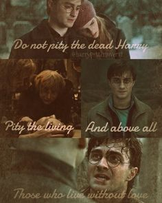 """Do not pity the dead harry, pity the living. And above all, those who live without love."" -Albus Dumbledore."