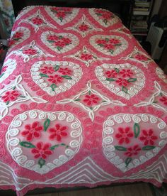 "Hearts and Roses Vintage Chenille Bedspread~Grandma Nell Sweet~  why did I Pin a ""Nell"" memory?2:28am"