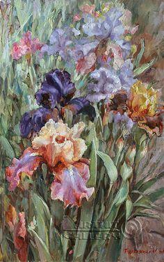 Original paintings for sale. Surrealism. Sunny day. Irises. Podgaevskaya Marina