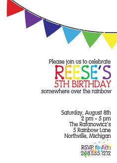 Rainbow Party Invitation by LittleWishesDesign on Etsy, $10.00