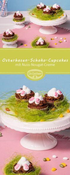 Osterhasen-Schoko-Cupcakes: Wonach der Hase in diesem Cupcake wohl sucht? Nach der feinen Nuss-Nougat-Creme im Inneren #ostern #osterhase #rezept