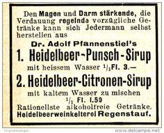 Original-Werbung/ Anzeige 1910 - DR. ADOLF PFANNENSTIEL´S HEIDELBEER PUNSCH…