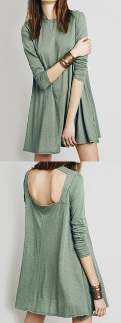 Dark Sea Green Cut Out Back Long Sleeve Dress