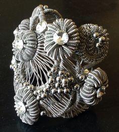Wire wrapped bracelet with swarovski, made by Tanja Stokin- Zojani