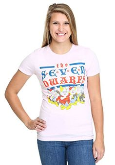 Disney Snow White Vintage Dwarfs Juniors TShirtLight Pink Large ** Check this awesome product by going to the link at the image.
