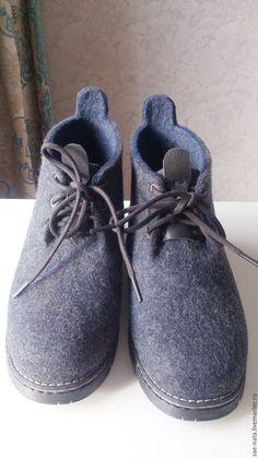 Купить Ботинки мужские валяные - серый, Валяные ботинки, валяные ботинки мужские