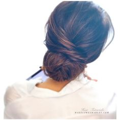 2-Minute Elegant Bun Hairstyle Totally Easy Hair Tutorial ❤ liked on Polyvore featuring beauty products, haircare and hair styling tools