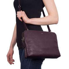 Davies Leather Cross Body Bag in Espresso | KNOMO | Either carry as a clutch or use the full leather extendable detachable long strap that to wear on the shoulder or across body