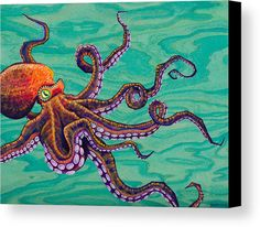 Tentacles Canvas Print by Emily Brantley. All canvas prints are professionally printed, assembled, and shipped within 3 - 4 business days and delivered ready-to-hang on your wall. Choose from multiple print sizes, border colors, and canvas materials. Octopus Drawing, Octopus Painting, Octopus Wall Art, Octopus Design, Octopus Tattoos, Watercolor Fish, Canvas Art, Canvas Prints, Sale Poster