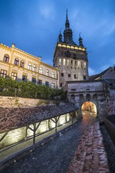 Sighisoara Clock Tower at night in the historic centre of Sighisoara, a century Saxon town, Transylvania, Romania Places To Travel, Places To Go, Visit Romania, Romania Travel, Royal Caribbean Cruise, Beautiful Castles, Beautiful Places, Outside World, Medieval Castle