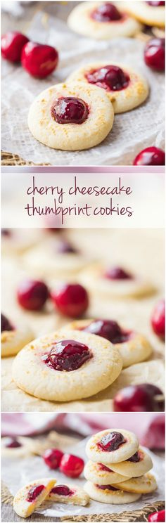 Cherry Cheesecake Thumbprint Cookies: the cream cheese cookie was SO good with the glazed cherry!  Loved the little sprinkling of crunchy graham cracker crumbs too.  This recipe is definitely a keeper!  food desserts cookies via @bakingamoment
