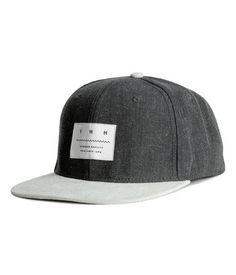 Cotton Cap with Appliqué   Dark gray   Men   H&M US