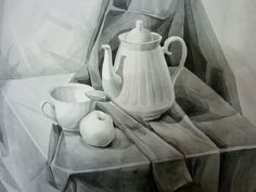 Black and white still life by SakumaSweet Still Life Drawing, Painting Still Life, Still Life Art, Graphite Drawings, Pencil Art Drawings, Art Sketches, Water Drawing, Painting & Drawing, Perspective Drawing Lessons