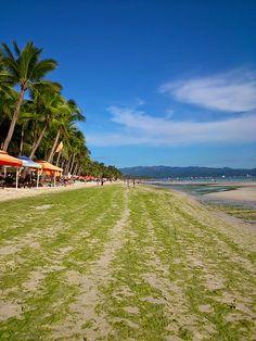 White Beach during algae season, Boracay