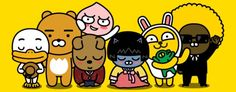 Line friends vs Kakao friends post response: source: here I used to hate Kakao's new member Ryan (t/n: the brown bear) . Cute Characters, Anime Characters, Kakao Friends, Line Friends, Cartoon Wallpaper, Emoticon, A Funny, Cute Designs, Mickey Mouse
