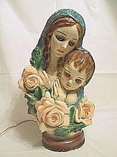 Lg. Vintage 1940's Ceramic Lamp & Statue of Mary & Baby Jesus / Rare
