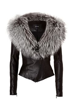 JITROIS Leather Jacket with Silver Fox Fur Collar in Black