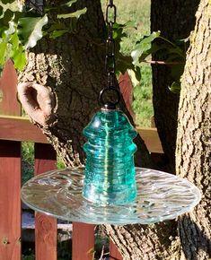 Glass Bird Feeder  Glass BirdFeeder  Hanging Glass Insulator