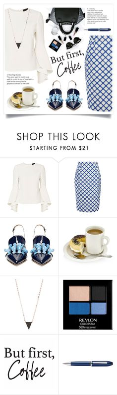 """Stylish office look"" by onelittleme ❤ liked on Polyvore featuring Exclusive for Intermix, Jonathan Saunders, Anya Hindmarch, Lana, Revlon, Brewster Home Fashions, TrackR, white, black and Blue"
