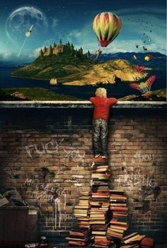 First, books will always lift you up to a better world, even if temporarily. Second, yes, this is exactly how Owl City works. I Love Books, Good Books, Books To Read, My Books, Music Books, Magic Treehouse, Owl City, Favim, Love Reading