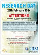 Research Day will be celebrated at SRM University on Thursday, 27th February 2014.