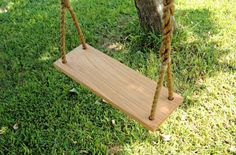 Salvaged Wood Plank Tree Swing with Rope by JoshuaTreeworks