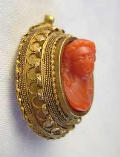 Antique Victorian Coral Cameo High Relief Etruscan