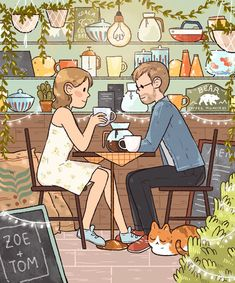 C is for Coffee shop D is for Date Couple Illustration, Illustration Art, Comic Artist, Aesthetic Art, Love Art, Cute Drawings, Art Inspo, Amazing Art, Cute Pictures