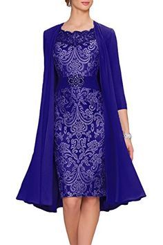Newdeve Chiffon Mother Of The Bride Dresses Tea Length Tw...