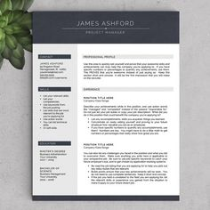 Modern Resume Template For Word And Pages , 1 3 Page Resume + Cover Letter  + Tips | US Letter U0026 A4 | Modern Cv Template | INSTANT DOWNLOAD