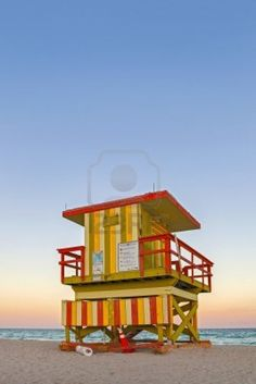 Miami Beach Florida, with a colorful lifeguard house
