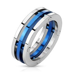 Bague homme acier à trio d'anneaux argenté et bleu