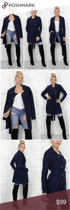 NAVY BLUE BUTTON FRONT CARDIGAN Brand new, Boutique item Price is firm, no offers accepted Bundle to save  Look at this chic & classy Navy Blue button front belted cardigan. Wear over the shoulders, or buttoned and belted closed or open front. Goregous Navy blue color on textured fabric. The style and fit is just fabulous! Item is as seen in pics  True to size Material60%acrylic 40% Mercerized Wool  sweater winter fall warm cozy classy timeless classic holiday gift present .Kerisma Sweaters…