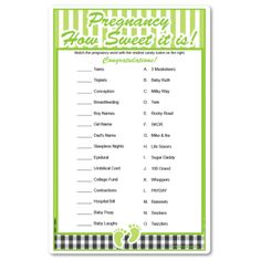 Pregnancy How Sweet It Is!  Baby shower game matching candy bars to pregnancy terms...funny!