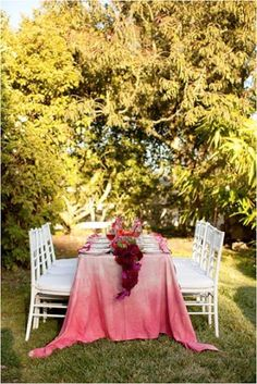 Dramatic ombre tablecloth.  Farm to table.