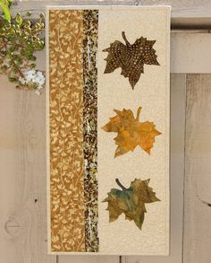 Autumn Leaves Quilted Wall Hanging - Fiber Art Wall Decor