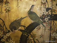 Detail from antique Japanese screen. Handpainted design on gold leaf. Art Furniture, Gracie Wallpaper, Japanese Screen, Chinoiserie Wallpaper, Leaf Background, Blossom Trees, Japanese Painting, Japan Art, Dream Decor