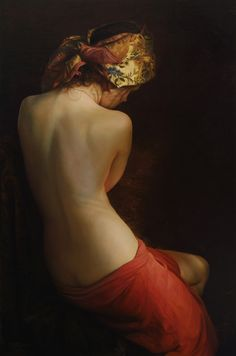 Artist: Serge Marshennikov {contemporary figurative realism art beautiful female scarf headdress seated woman posterior back painting}