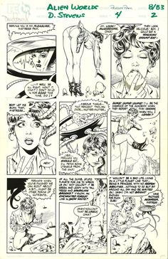 Dave Stevens - Alien Worlds - Princess Pam Comic Art Comic Book Pages, Comic Page, Comic Book Artists, Comic Book Characters, Comic Artist, Comic Character, Comic Books Art, Dave Stevens, Serpieri
