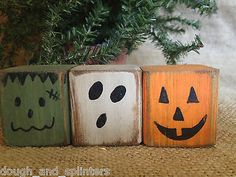 Primitive Halloween Monster Pumpkin Ghost Convo Shelf Sitter Cube Block Set in Art Direct from the Artist Folk Art & Primitives Fall Wood Crafts, Halloween Wood Crafts, Wood Block Crafts, Halloween Projects, Holiday Crafts, Halloween Decorations, Wood Blocks, 4x4 Wood Crafts, Diy Wood