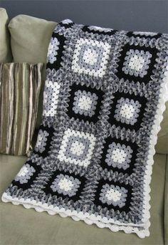 crochet blanket black white grey granny square acrylic ...