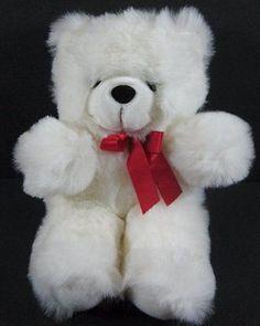 "13"" White Furry BEAR Red Bow Soft King Plush Stuffed Toy B168"