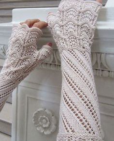 Victorian elbow-length fingerless gloves knitted in Panda Silk by Crystal Palace. HeartStrings #H69 Terzetto Lace Mitts