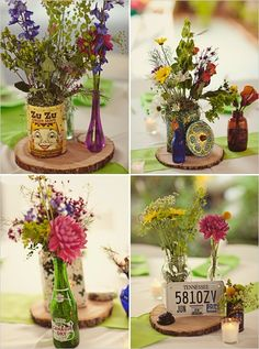 lovely wildflower/ vintage center pieces... different bottles and cans!  in you color flowers all on wood cuts!
