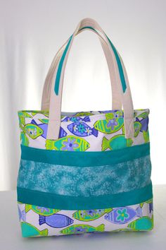 Color block tote Large fabric tote Leather tote by TheCosyTeapot, $37.95