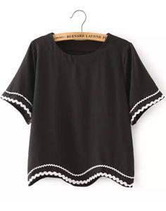 Black Short Sleeve Peplum Trims Crop T-Shirt - abaday.com