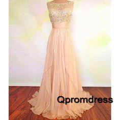 Modest prom dress, homecoming dress, 2016 cute pink chiffon long prom dress for teens #coniefox #2016prom